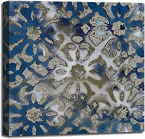 Vintage Blue Flower Pattern Prints Wall Decor Artwork for bedroom Ocean style Decorative Pattern size 20x20x1.5 inch