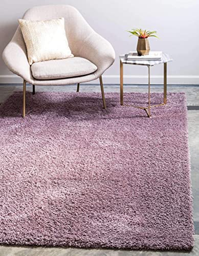 Unique Loom Serenity Solid Shag Collection Super Soft Micro Polyester Mauve Area Rug 9' 0 x 12' 0