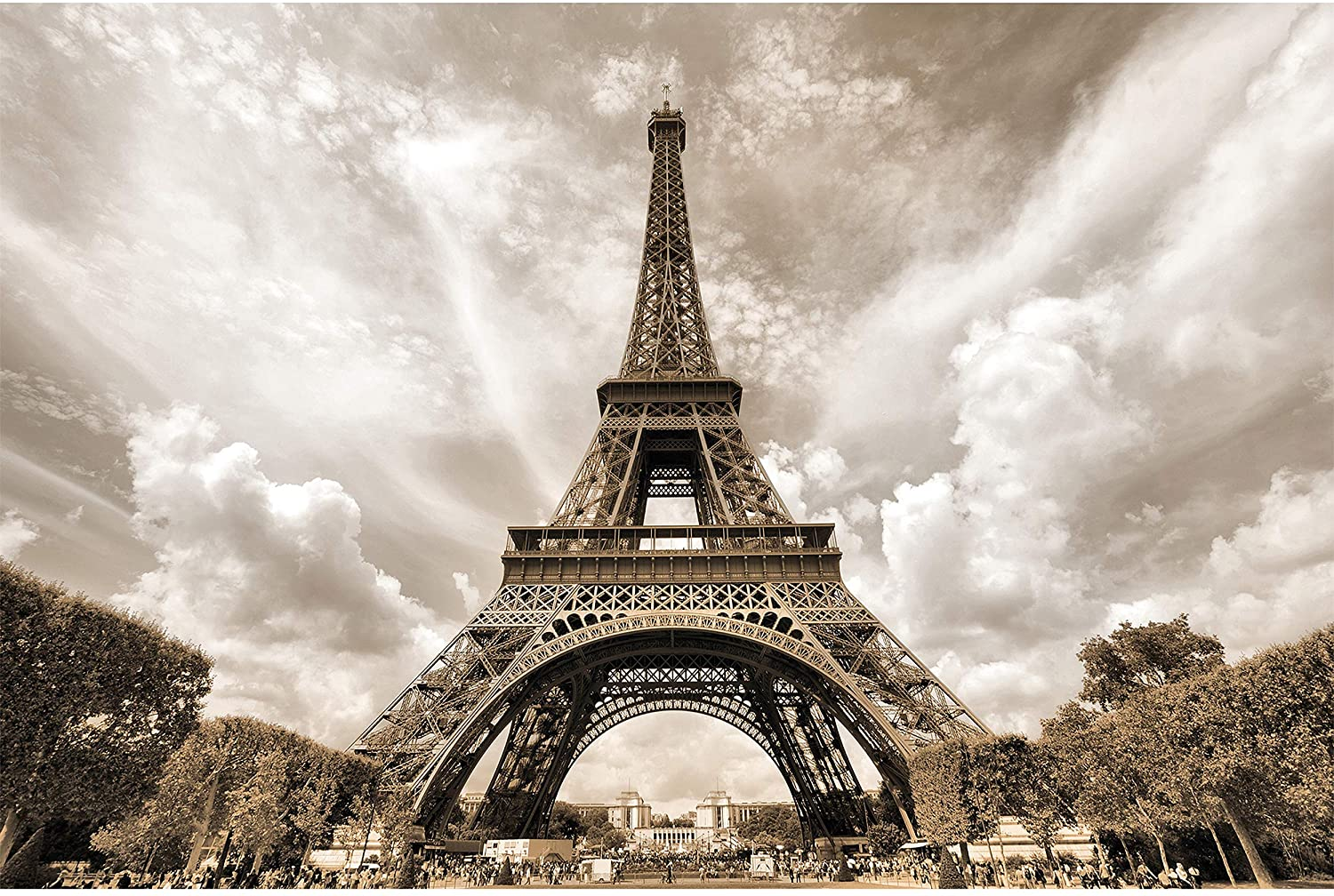 GREAT ART Poster – Eiffel Tower – Picture Decoration France Capital City Paris Monument Champ de Mars Radio TV Outlook Retro Style Image Photo Decor Wall Mural(55x39.4in - 140x100cm)
