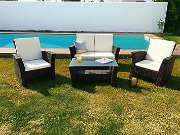 KieferGarden Oregon conjunto muebles de jardín y exterior en Ratán Sintético