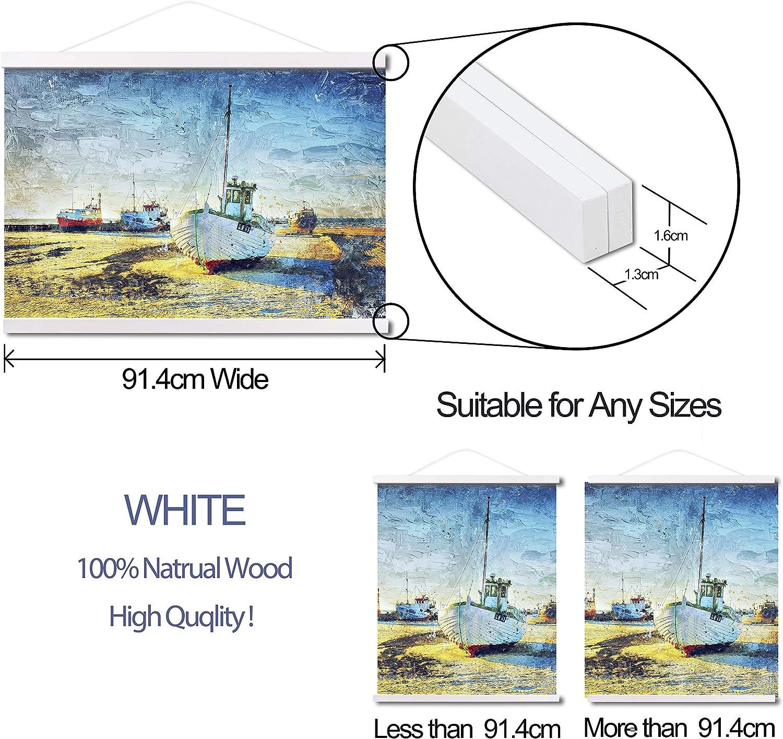 Blanc ARTHOME Cadre en Teck Noir ou Blanc avec Cadre magn/étique en Bois Clair pour d/écoration dart ou Toile 30 cm
