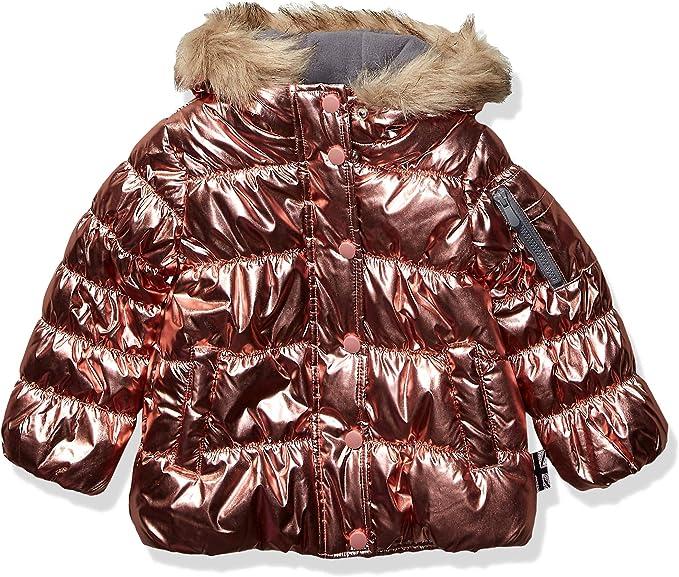 London Fog Girls Burgundy Jacket Coat with Faux Fur Lined Hood Size 4 5//6 6X