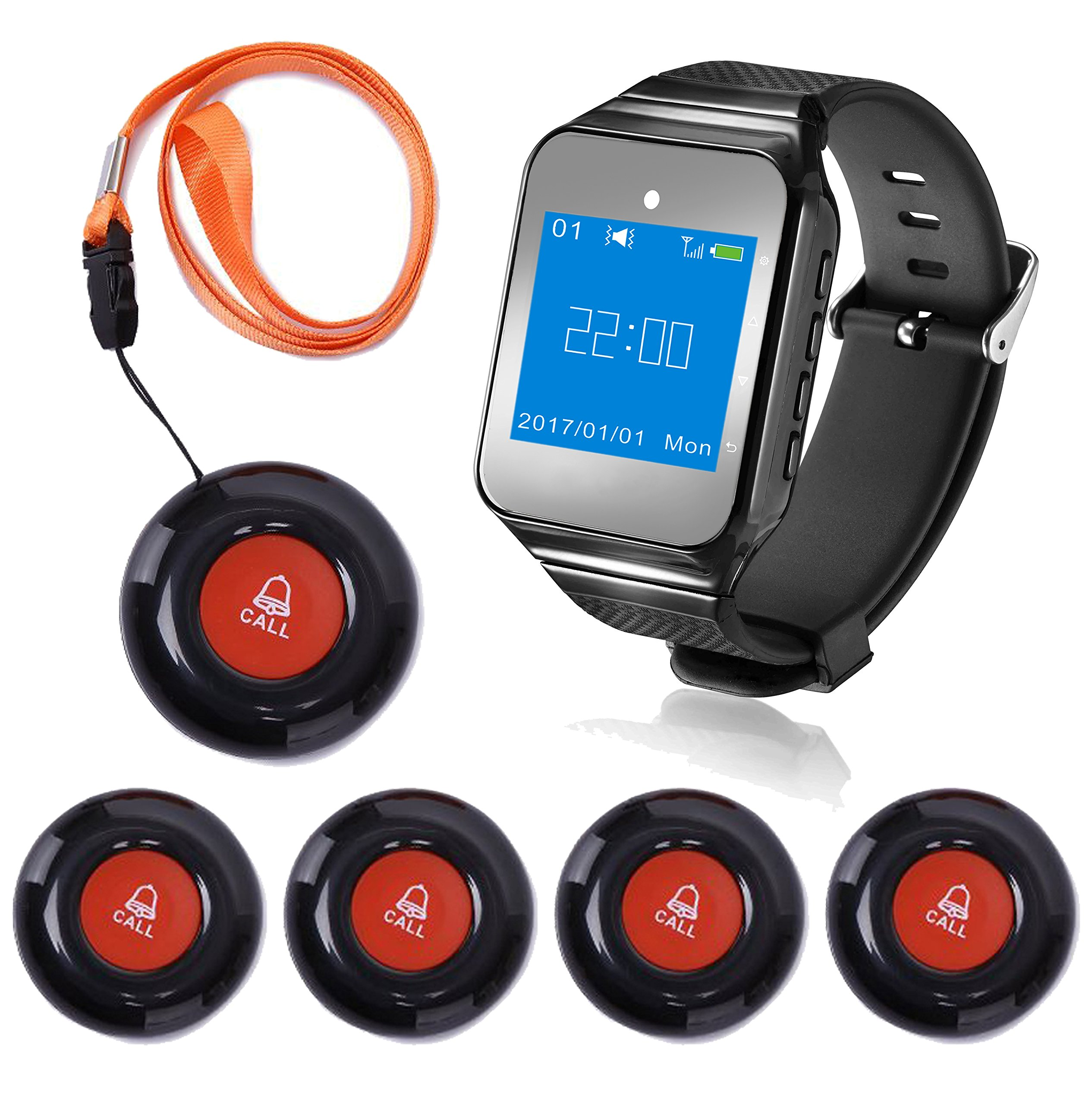 CallToU Wireless Wrist Pager Smart Call System Caregiver Pager, Nurse Calling Alert for Elderly/Patient/Disable at Home