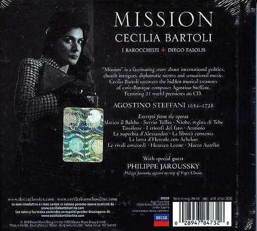 agostino steffani diego fasolis i barocchisti cecilia bartoli philippe jaroussky mission amazoncom music