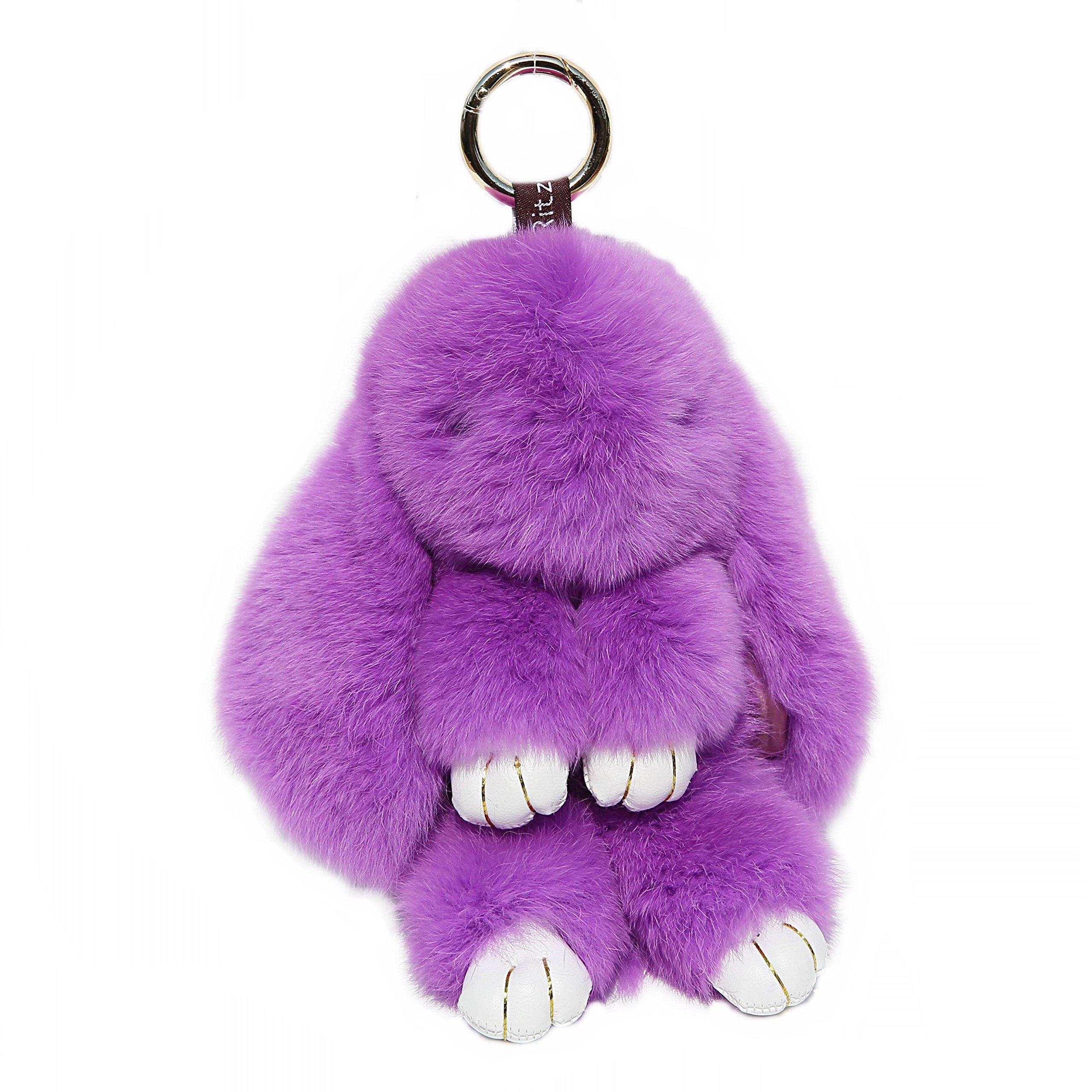 RitzyBay Handmade Rex Rabbit Fur Bunny Keychain with RitzyBay GiftBox (Small, Purple)