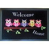 Fußmatte Fußabtreter Fußabstreifer Schmutzmatte Motiv Design Eule Cat Katze Hund Dog OWL (purple-home)