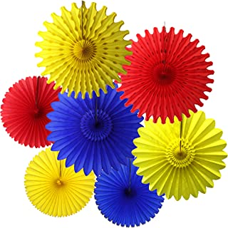 product image for 7-Piece Tissue Fans, Red Yellow Blue, 13-18 Inch