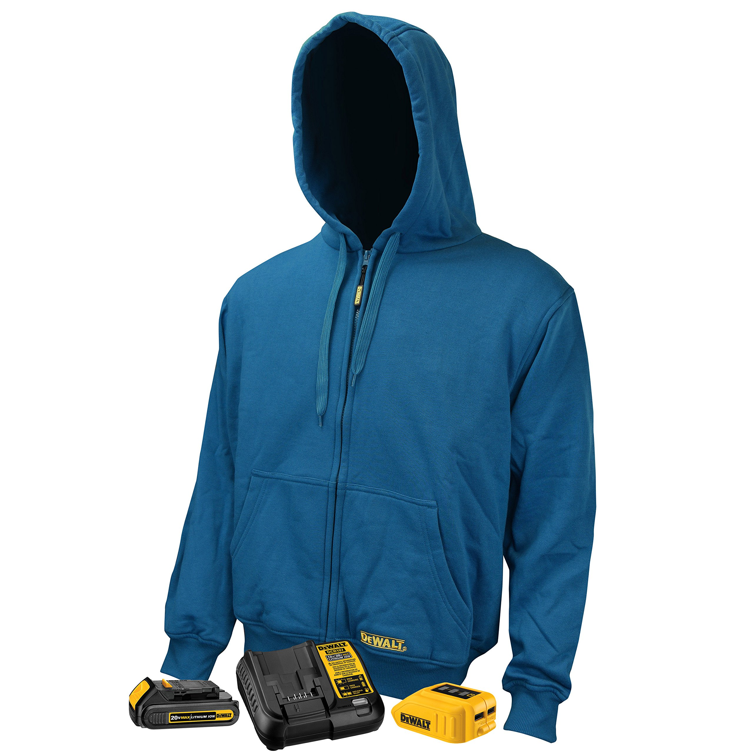 DeWALT DCHJ069C1 Unisex 3 Core Heated Fleece Hoodie with 20-Volt Lithium-Ion MAX Battery and Charger, Blue, Small