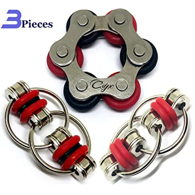 Fidget Toys Flippy Roller Chain - Stress Relief Perfect for ADHD, ADD, Anxiety in Classroom, Office, School, Work for Students, Kids Stocking Stuffers Gifts for Children or Adults (3 Piece) (Red): Toys & Games