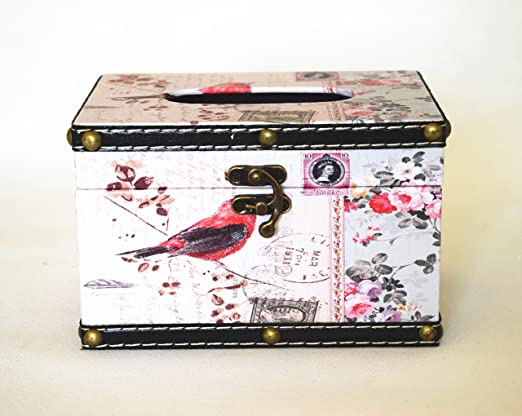 Caja de pañuelos cover-retro estilo/rectangular tejido box-flower ...