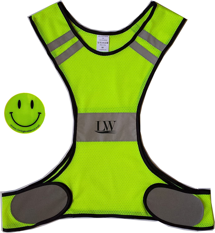 LW Reflective Biking Vest Running Cycling Walking Yellow Safety with Bonus Reflective Sticker