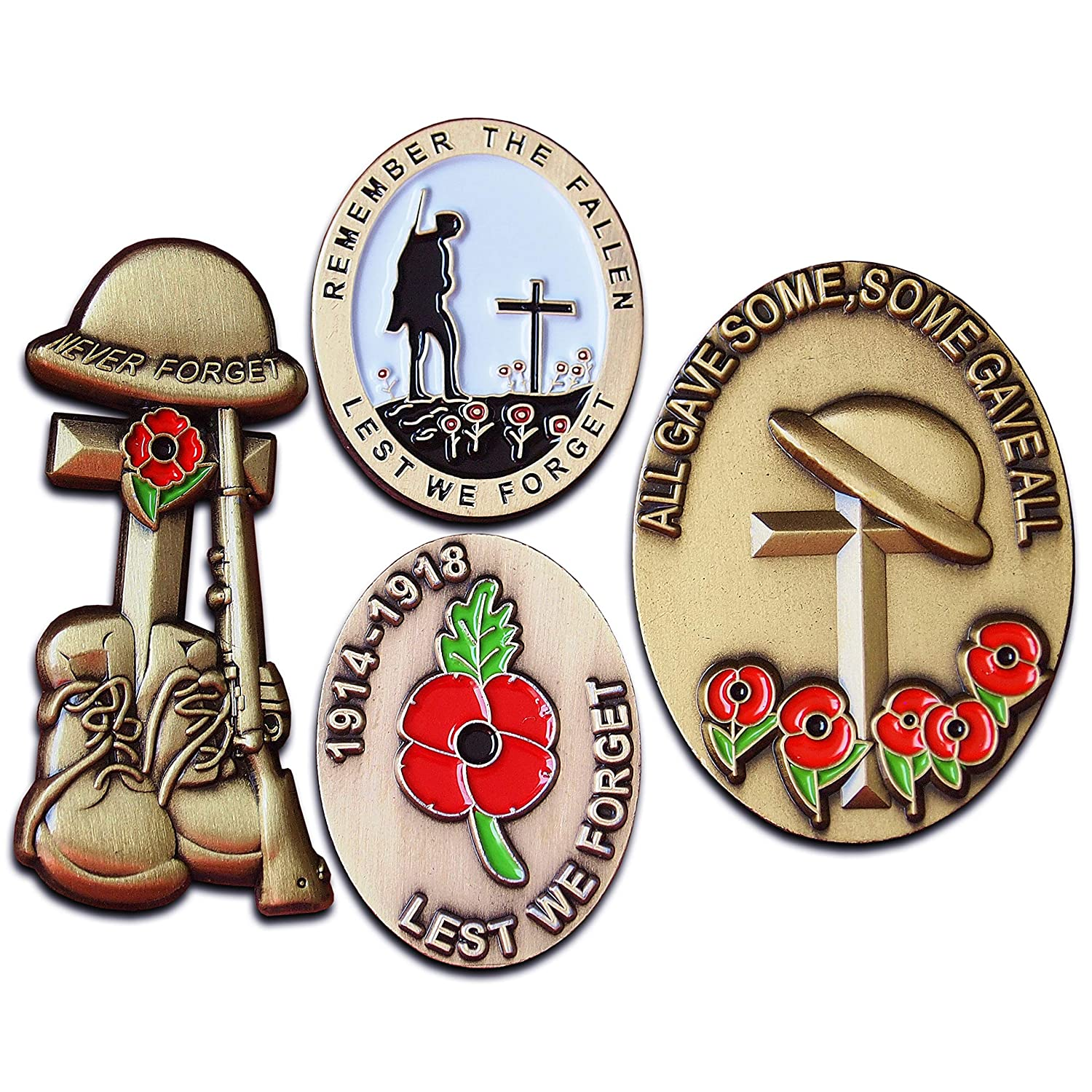 86e97fd9c Red Poppy Badge Set in Luxury Presentation Box Lest We Forget Pin  Remembrance Day Antique Plating World War Lone Soldier Veterans Enamel  Brooch Metal Rifle ...