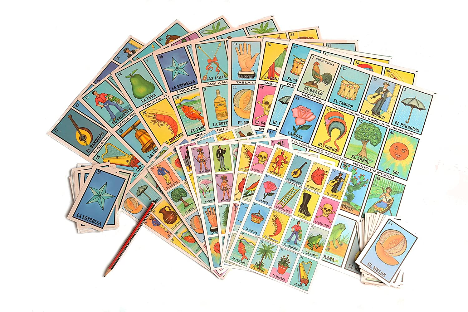 Amazon.com: Naipes Gacela 2 Loteria Mexicana Sets (Different Sizes), 1 Jumbo Set (20 Boards, Cards and 80 Markers) & 1 Portable Set (20 Boards and Cards).