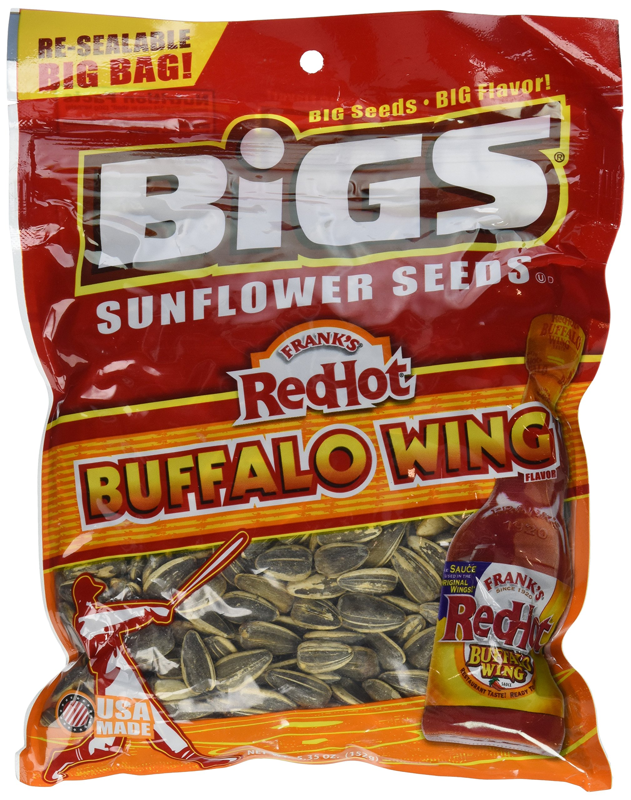 Bigs Frank's Hot Buffalo Wing Sunflower Seed, 5.35-Ounce (Pack of 3)