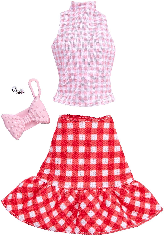Barbie Complete Looks Gingham Skirt /& Pink Top Mattel FKR99