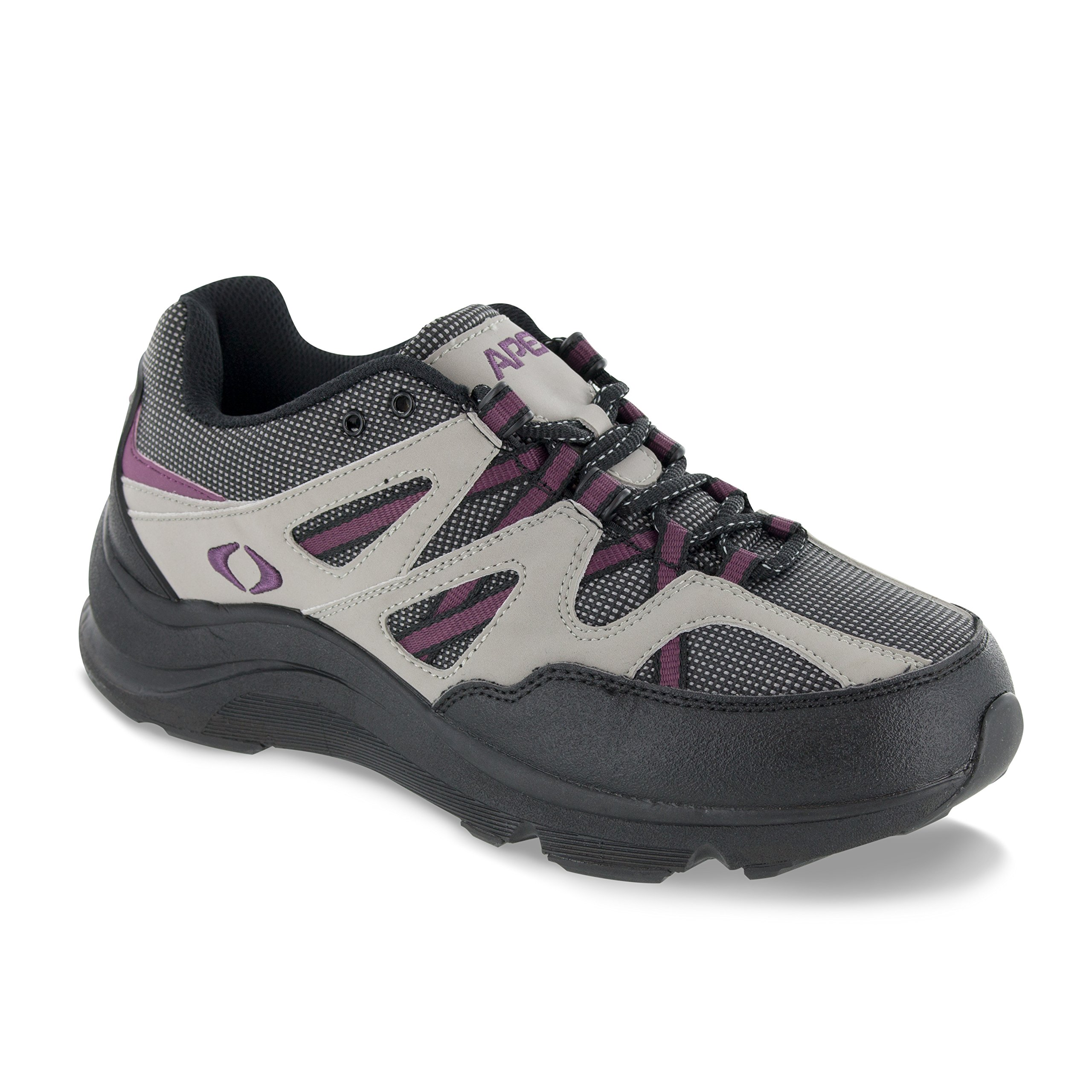 Apex Women's Sierra Trail Runner Hiking Shoe Sneaker, Grey/Purple, 9.5 Extra Wide US by Apex