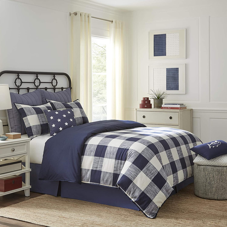 Southern Tide Alcott Pass Comforter Set, King, Navy/Cream