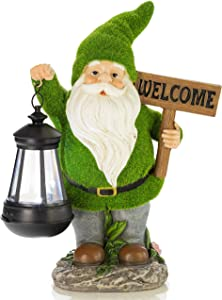VP Home Welcome Flocked Gnome with Lantern Solar Powered LED Outdoor Decor Garden Light