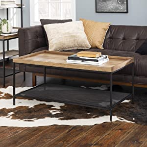 Walker Edison Industrial Farmhouse Coffee Accent Table Living Room Rectangle, Reclaimed Barnwood