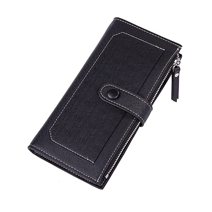 c8730bb6b789 Baellerry Women Soft Leather Long Wallet Large Capacity Cluth Ladies Purse  Card Holder (black)