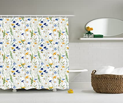 Amazon ambesonne floral shower curtain roses decor by poppies ambesonne floral shower curtain roses decor by poppies and daisies floral printing wild flowers watercolor mightylinksfo