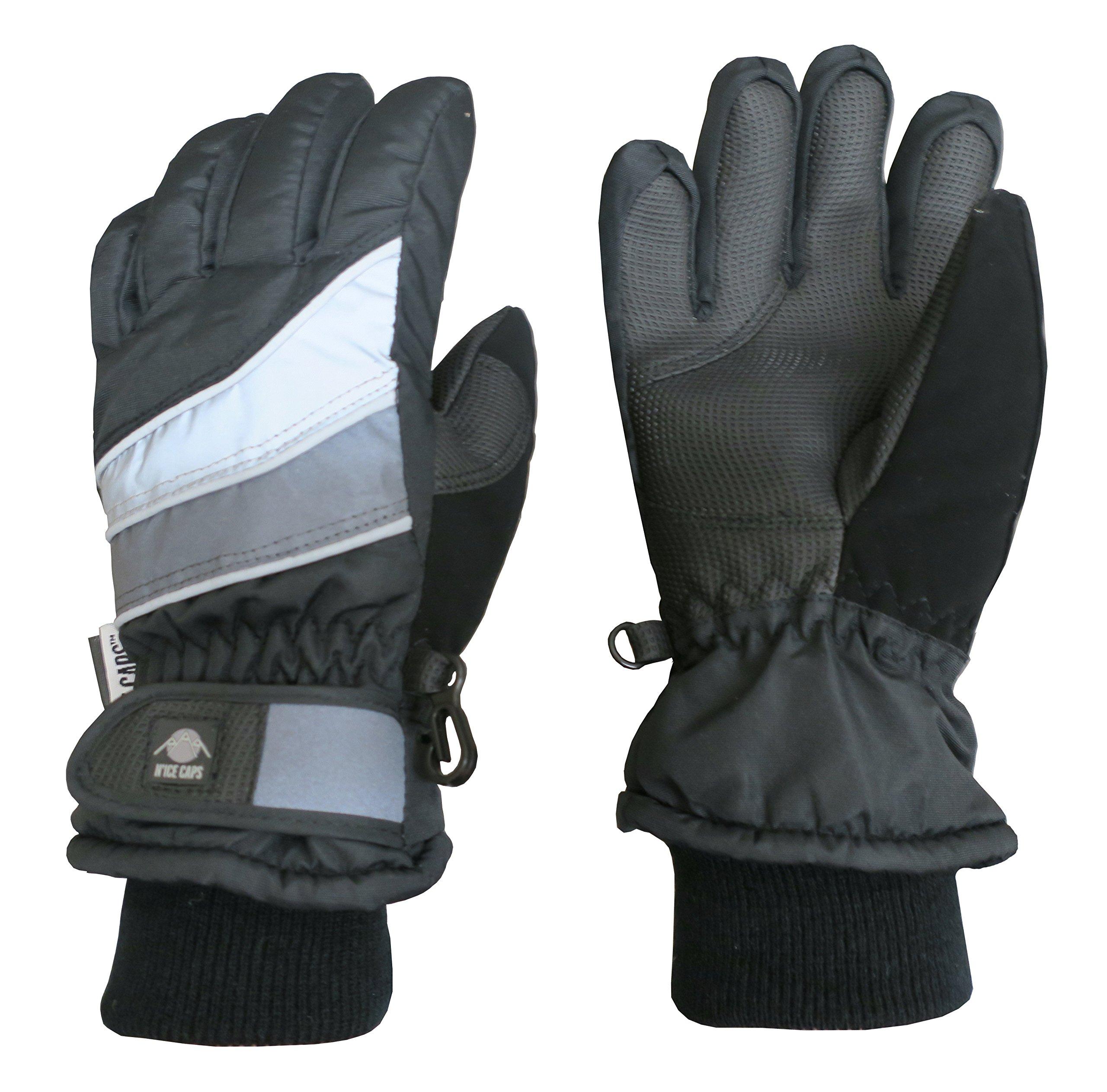N'Ice Caps Kids Bulky Thinsulate Waterproof Winter Snow Ski Glove With Ridges (3-4yrs, Black/Grey Colorblock)