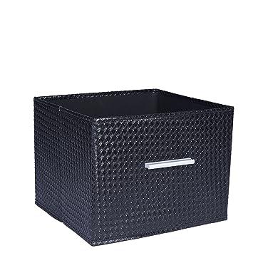Household Essentials Open Storage Bin With Aluminum Handles, Black  Checkboard