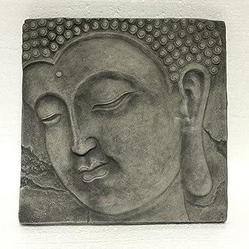 Wandbild Wandrelief Steinplatte Buddha Kopf Garten Deko Feng Shui