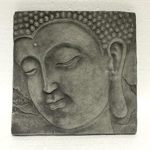 Wandbild Wandrelief Steinplatte Buddha Kopf Garten Deko Feng Shui ...