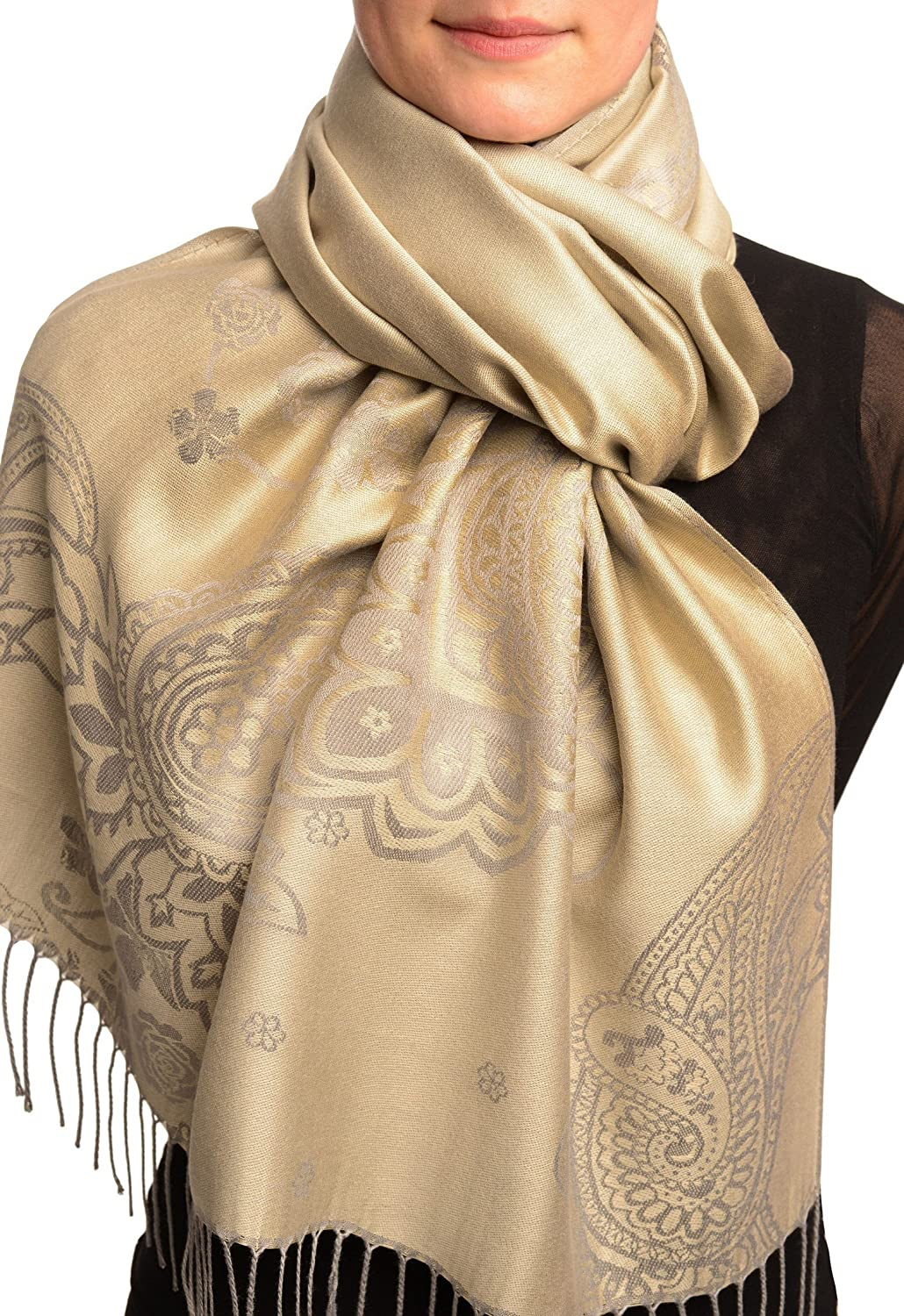 Paisley & Roses On Grey Pashmina Feel With Tassels - Scarf