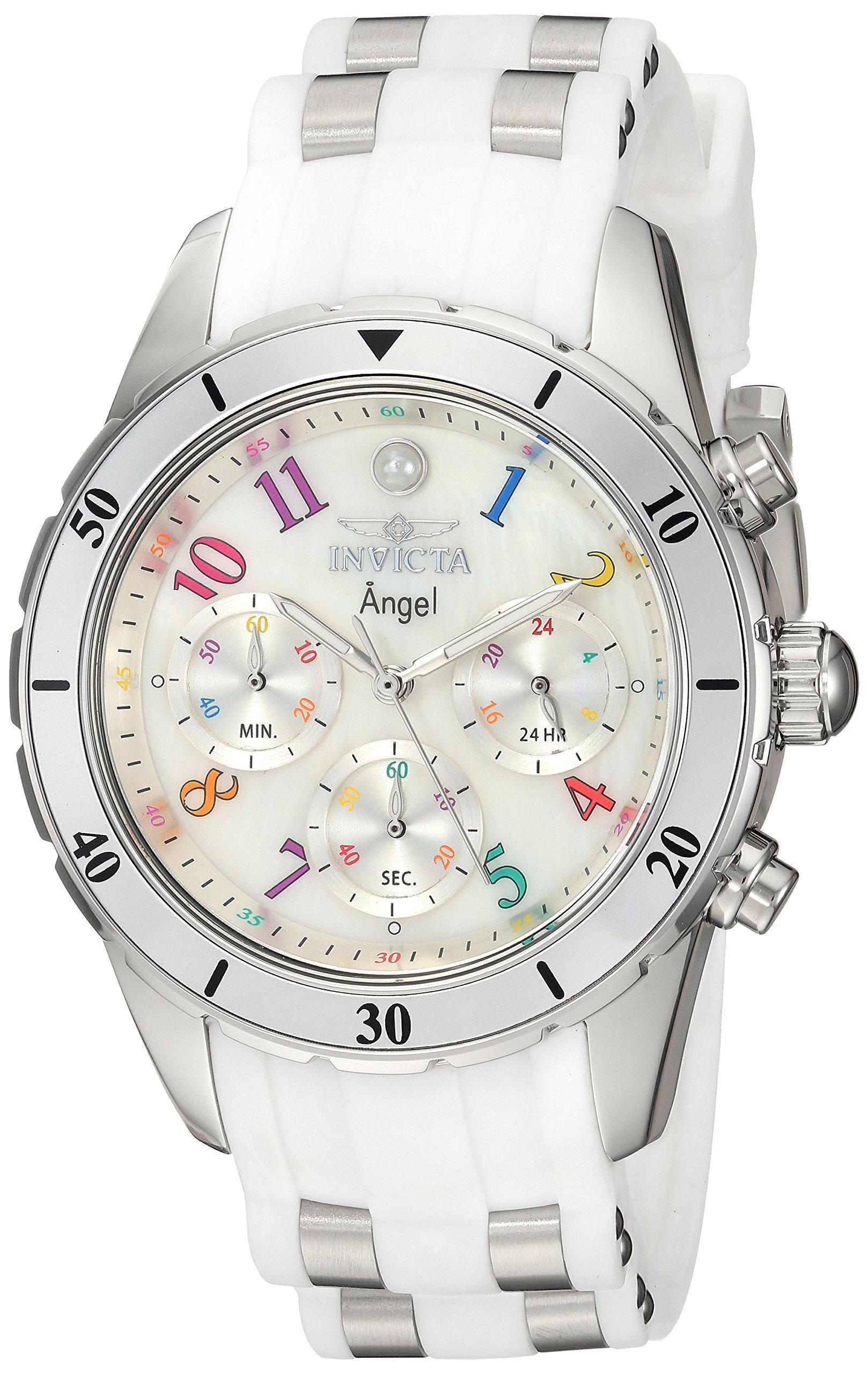 ویکالا · خرید  اصل اورجینال · خرید از آمازون · Invicta Women's Angel Stainless Steel Quartz Watch with Silicone Strap, White, 20 (Model: 24903) wekala · ویکالا