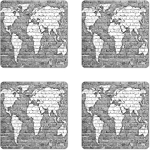Ambesonne Wanderlust Coaster Set of 4, World Map on Old Brick Wall Construction Grunge Antique Stained Abstract, Square Hardboard Gloss Coasters, Standard Size, White Grey