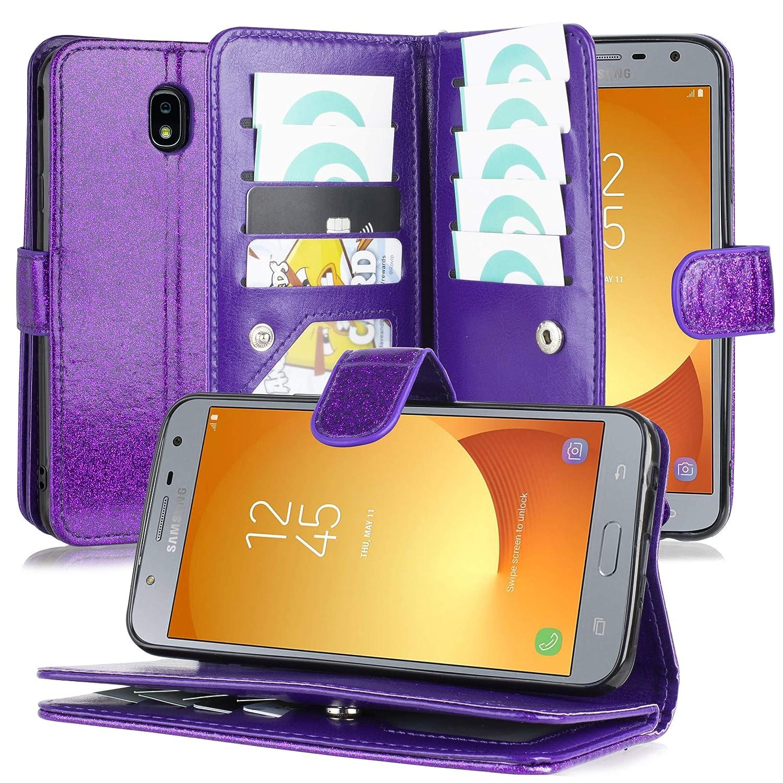 Customerfirst Cover for Samsung Galaxy J7 2018 Refine /J7  Star/Crown/Aura/Aero/Eon/Top (SMJ737) Luxury 8 Card Slot Detachable  Magnetic Glitter Wallet