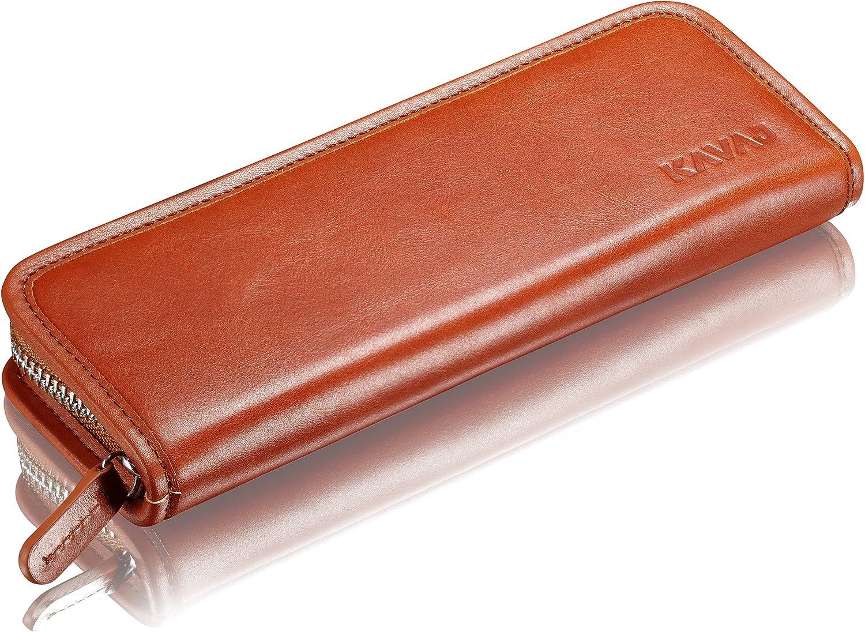 Stifte SCHWARZ Reißverschluss Pen Pouch Büffel Leder Etui für 3 Schreibgeräte