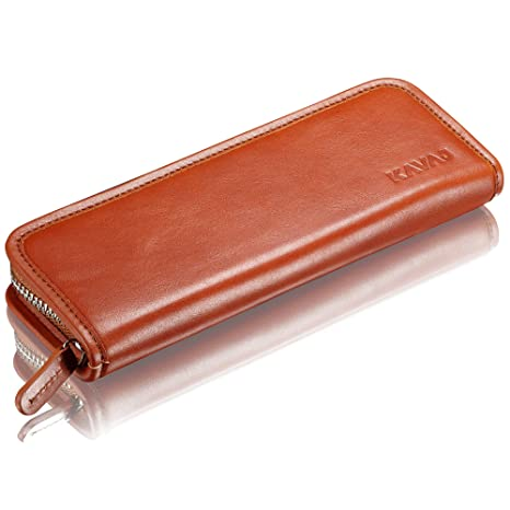 16726fa725102 KAVAJ Leather Pencil Case Vancouver Cognac-Brown - Classy Handmade Genuine  Leather Pencil Holder Pouch for Business, Office, School, University ...