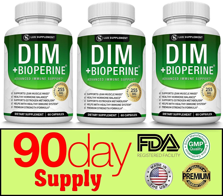 Dim Supplement Plus BioPerine Complex 255 mg - Premium Diindolylmethane Immune Formula for Hormone and Estrogen Balance, Helps with Menopause and Acne Treatment, for Men Women (Three Bottles)
