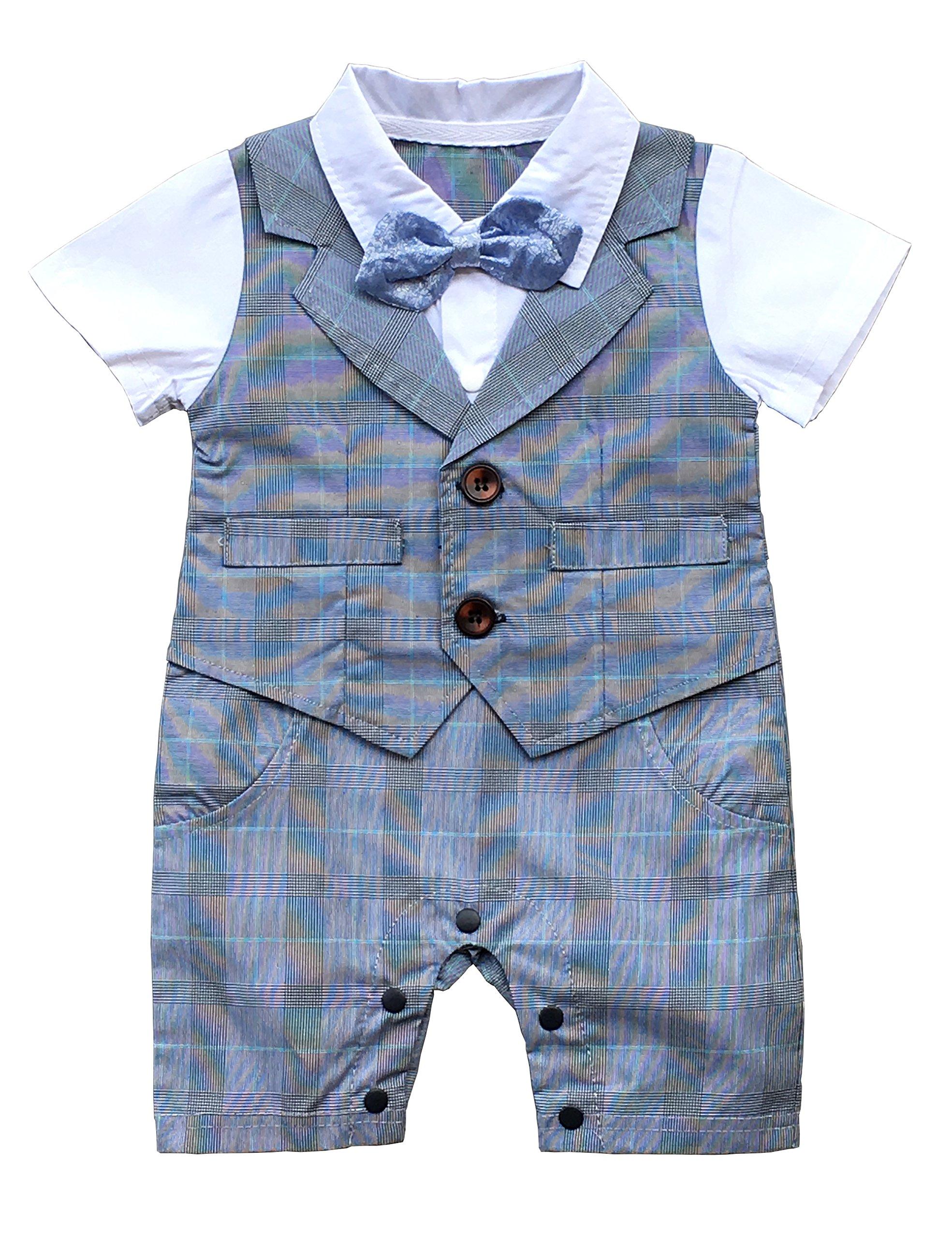HeMa Island HMD Baby Boy Gentleman White Shirt Bowtie Tuxedo Onesie Jumpsuit Overall Romper with Blue Waistcoat (Grey, 6-9 M)