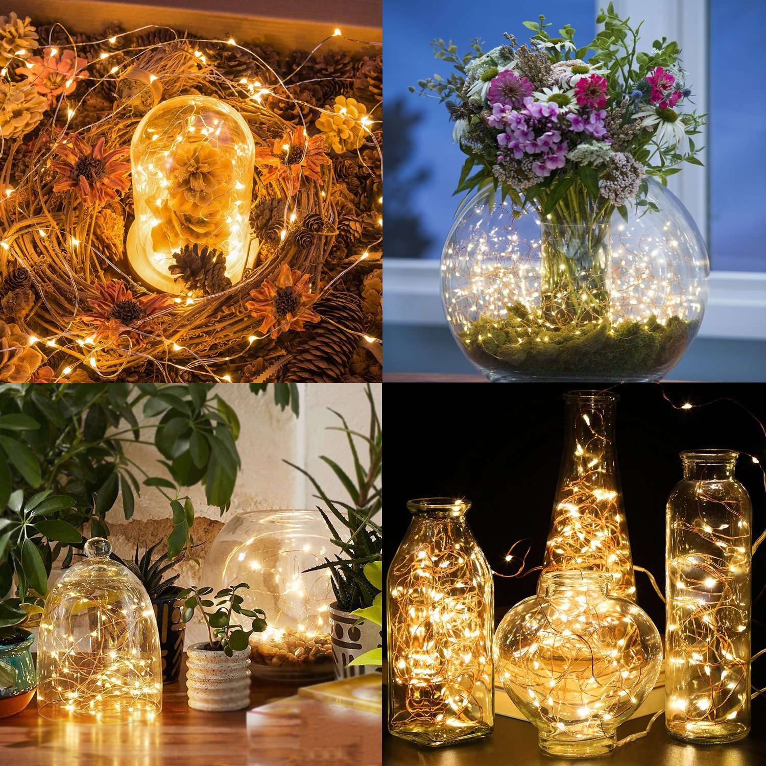 String Lights 2 Set 100 LED Christmas Fairy Lights with Remote Control(Timer),Warmtaste 33ft String Waterproof Copper Wire, Decor Rope Lights for Bedroom,Patio,Garden,Parties,Wedding(Warm White ) by Warmtaste (Image #5)