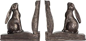 Creative Co-op Rustic Rabbit on Book Resin (Set of 2 Pieces) Bookends, Bronze