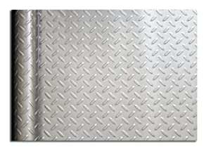 Resilia Diamond Plate Under Sink Mat, 24 x 48 inches, Silver