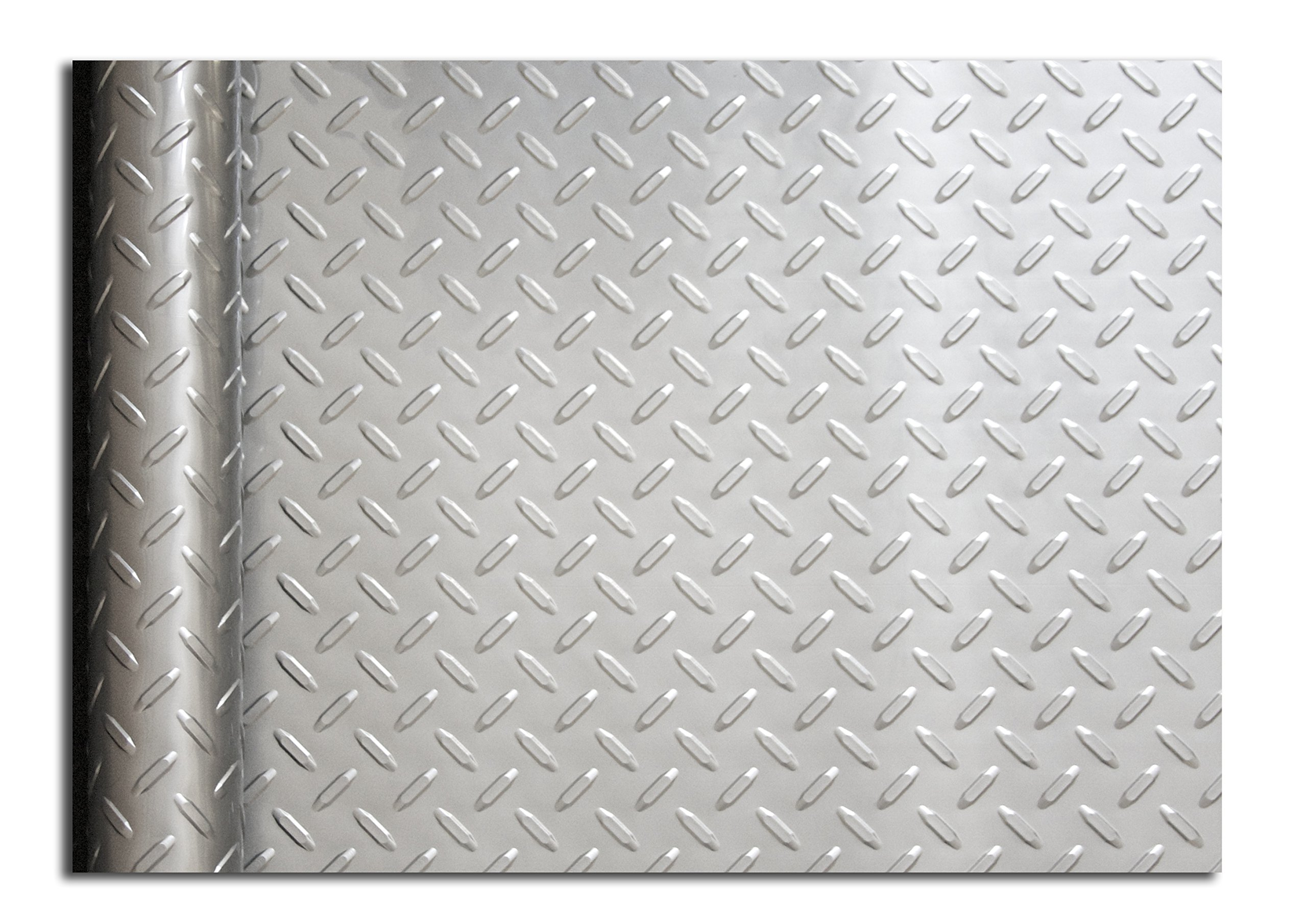 Resilia - Silver Garage Floor Runner/Protector - Embossed Diamond Plate Pattern, 48 inches Wide (4' x 10') by Resilia (Image #2)