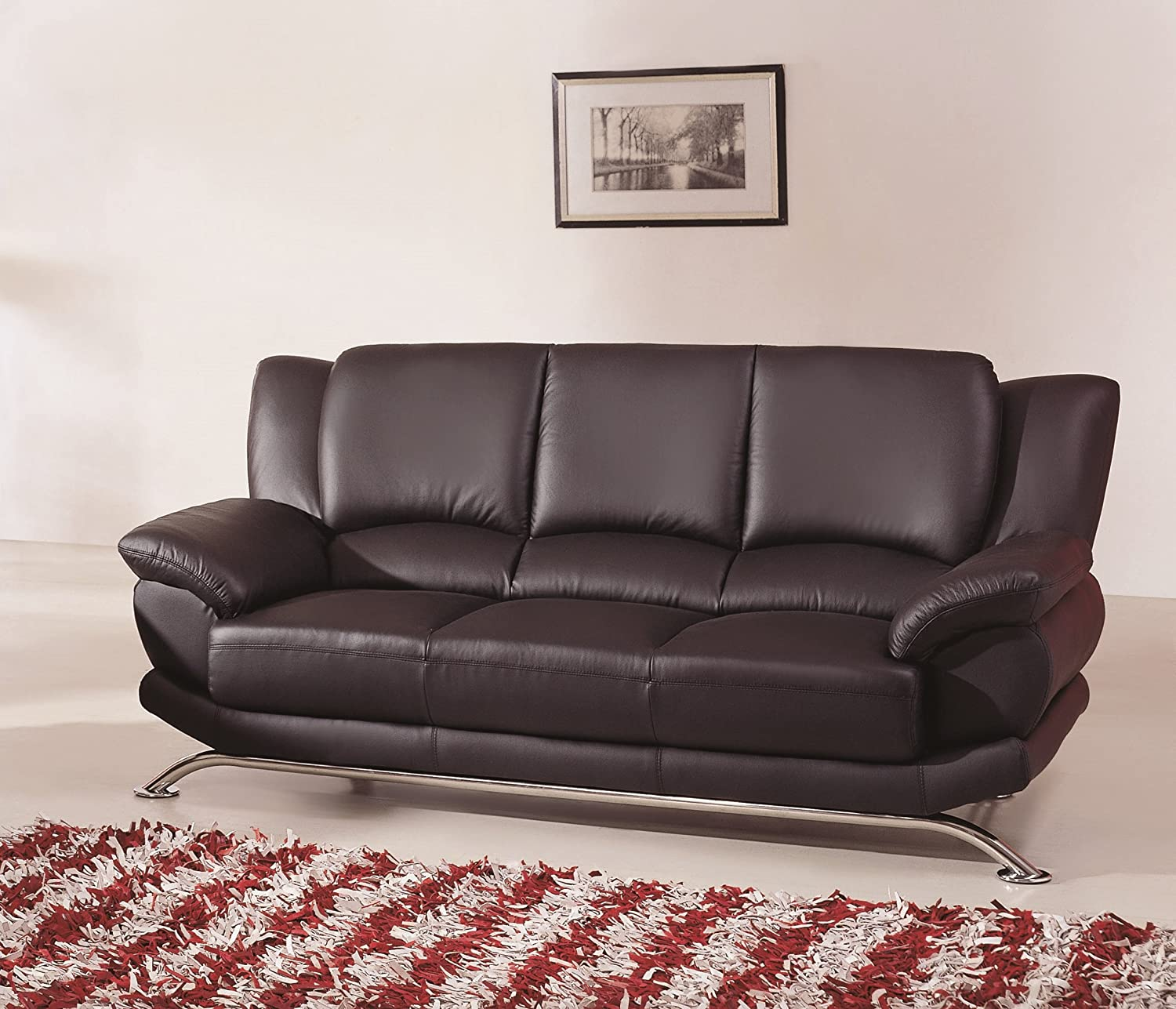 Amazon.com: Modern Line Furniture 9908Bs Contemporary Leather Sofa, Black:  Industrial U0026 Scientific