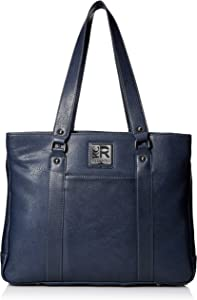 """Kenneth Cole Reaction Women's Hit Pebbled Faux Leather Triple Compartment 15"""" Laptop Business Tote, Slate Blue, One Size"""