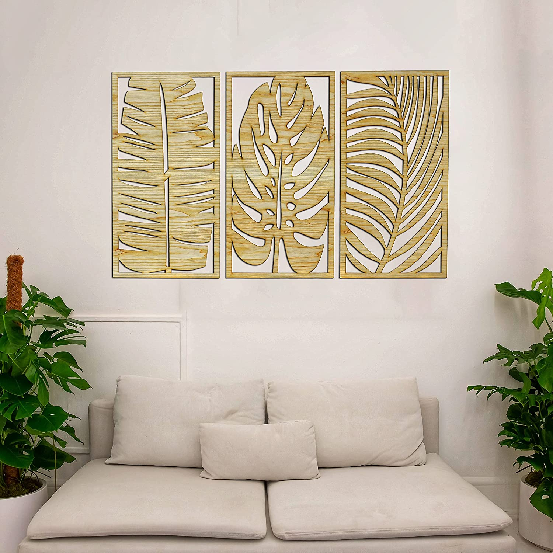 Palm Banana Monstera leaves II Wooden Wall art II 3 panel wood wall decor II Beautiful living room (L 12