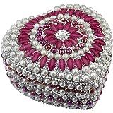 """SKAVIJ Jewelry Box, Decorative Storage Box for Jewelry and Precious Items Heart Shape -4""""x3.5""""x2"""""""
