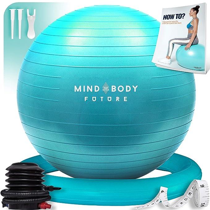 Pelota Suiza o Gym Ball Mind Body Future. Bola para Pilates, Yoga, Fitness, Embarazo y Sentarse. Balón Robusto, Antideslizante y Hipoalergénico. ...