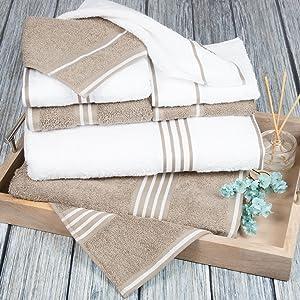 Lavish Home Rio 8 Piece 100% Cotton Towel Set - White & Taupe