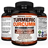 Turmeric Curcumin with BioPerine 1300MG with Black Pepper - Joint Support Nutritional Supplements – 100% Herbal Tumeric Root Capsules – BioScience Nutrition