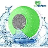 Portable Bluetooth Shower Speaker with Suction Cup - Waterproof, Built in Mic, Universal Phone & Tablet Compatibility - Green - by Gee Gadgets
