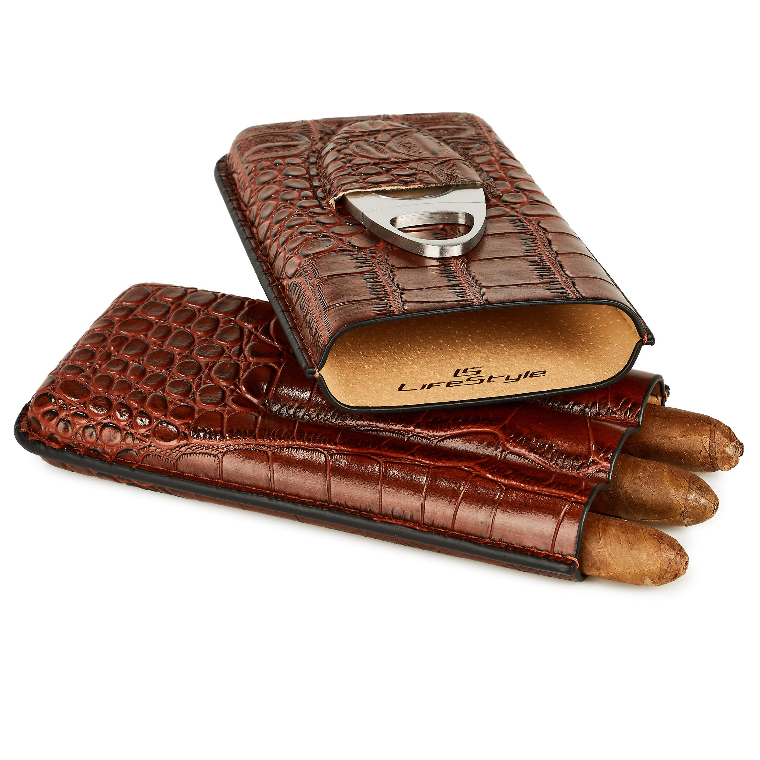 LS Lifestyle Leather Cigar Case - 3 Tube Travel Humidor with Stainless Steel Cutter (Brown Leather)